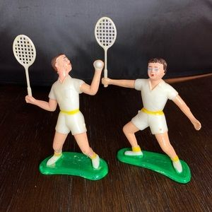 Vintage Male Female Tennis Player Cake Toppers